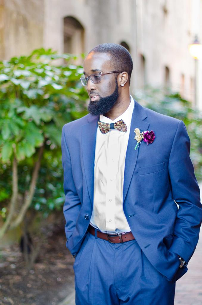 Bow tie by Brackish Bow Ties. Florals by Larger Than Life Events. Image by Aneris Photography.