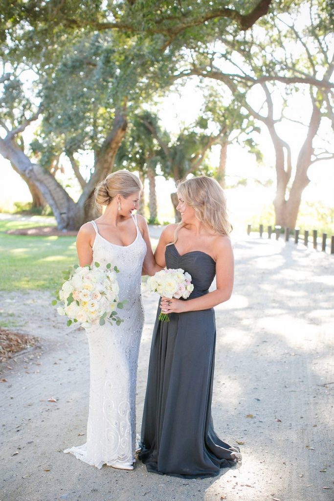 Bride's gown from Gown Boutique of Charleston. Photograph by Dana Cubbage Weddings at Lowndes Grove Plantation.