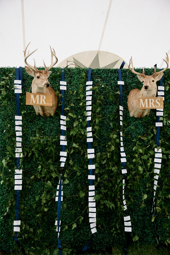 "Two Kulze family hunting  trophies wore ""Mr."" and ""Mrs."" signs and headed up the escort card wall.  <i>Photograph by Olivia Rae James</i>"