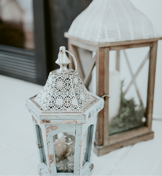 The bride collected décor items from discount shops, her own house, and friends.