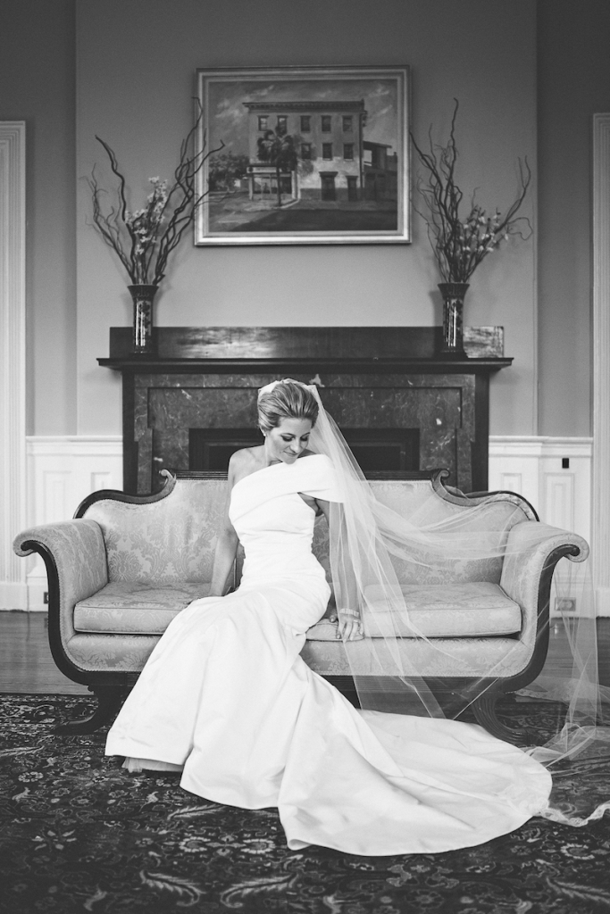 Bride's gown by Amsale (available locally at White on Daniel Island). Hair by Patrick Navarro. Makeup by Bellelina Skincare Spa and Makeup Studio. Image by Andrew Cebulka Photography.