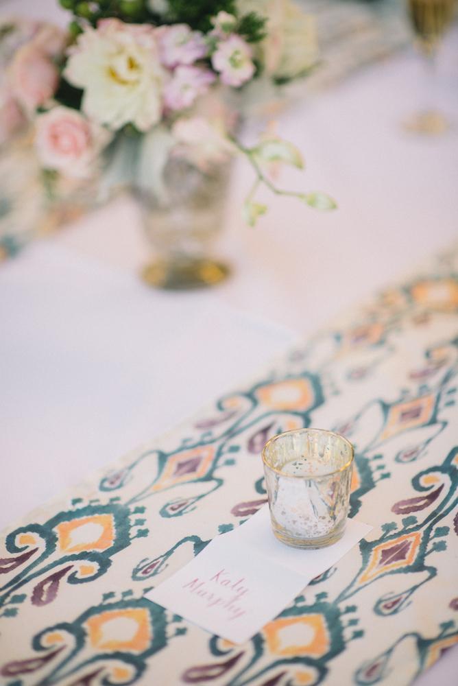 Wedding and floral design by A Charleston Bride. Custom fabric designed by Blue Glass Design. Photograph by Sean Money & Elizabeth Fay.