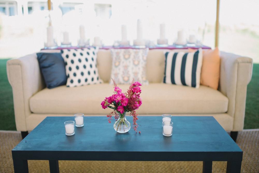 Wedding design by A Charleston Bride. Custom fabrics designed by Blue Glass Design. Photograph by Sean Money & Elizabeth Fay at the Ocean Course at Kiawah Island.