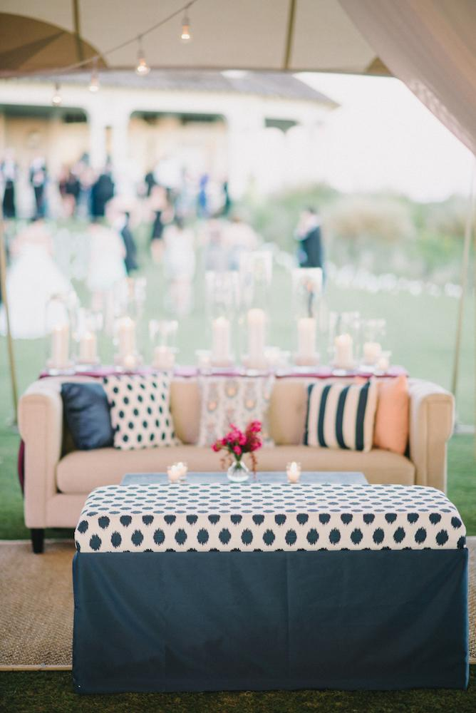 Wedding and floral design by A Charleston Bride. Custom fabrics designed by Blue Glass Design. Photograph by Sean Money & Elizabeth Fay at the Ocean Course at Kiawah Island.