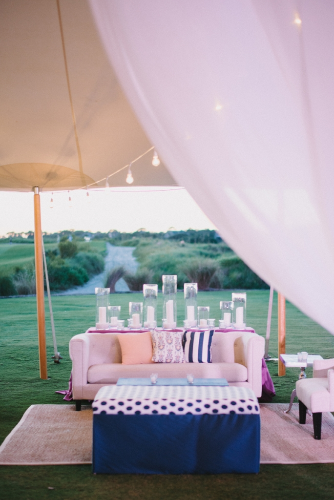 Wedding design by A Charleston Bride. Custom fabrics designed by Blue Glass Design. Lighting by Technical Event Company. Photograph by Sean Money & Elizabeth Fay at the Ocean Course at Kiawah Island.