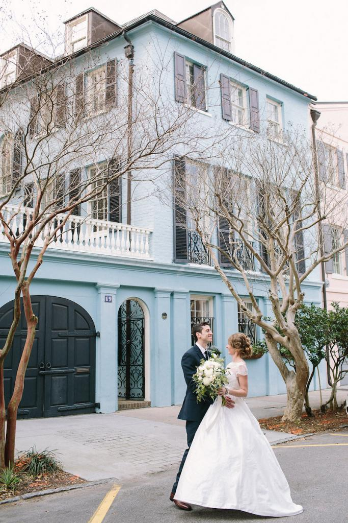 Bride's gown by Tara Keely. Florals by Lauren Luecke. Image by Julia Wade Photography.