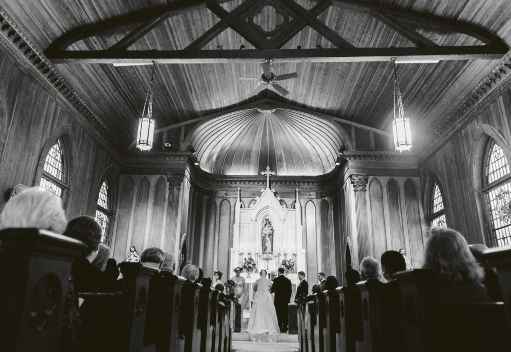 """Getting married at the church where my  grandfather laid the cornerstone really spoke to our day's strong sense of place,"" says the bride of the ceremony at Stella Maris on Sullivan's Island.  (Image by Juliet Elizabeth Photography)"