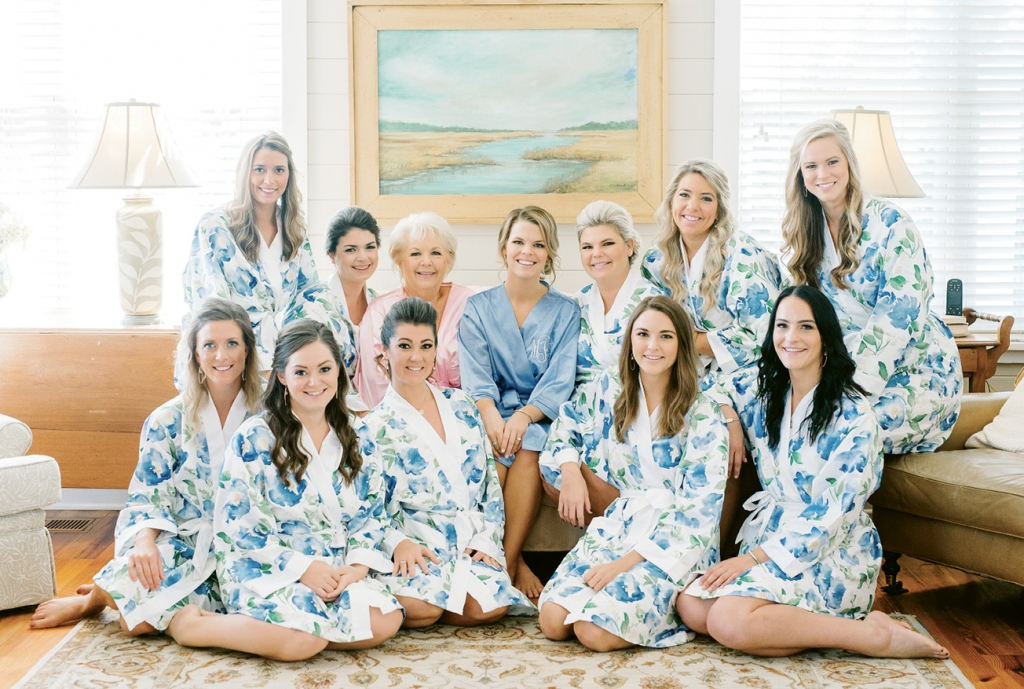 The bride and her wedding party joined her mother at the Severs' family home on Isle of Palms to get ready on the Big Day.