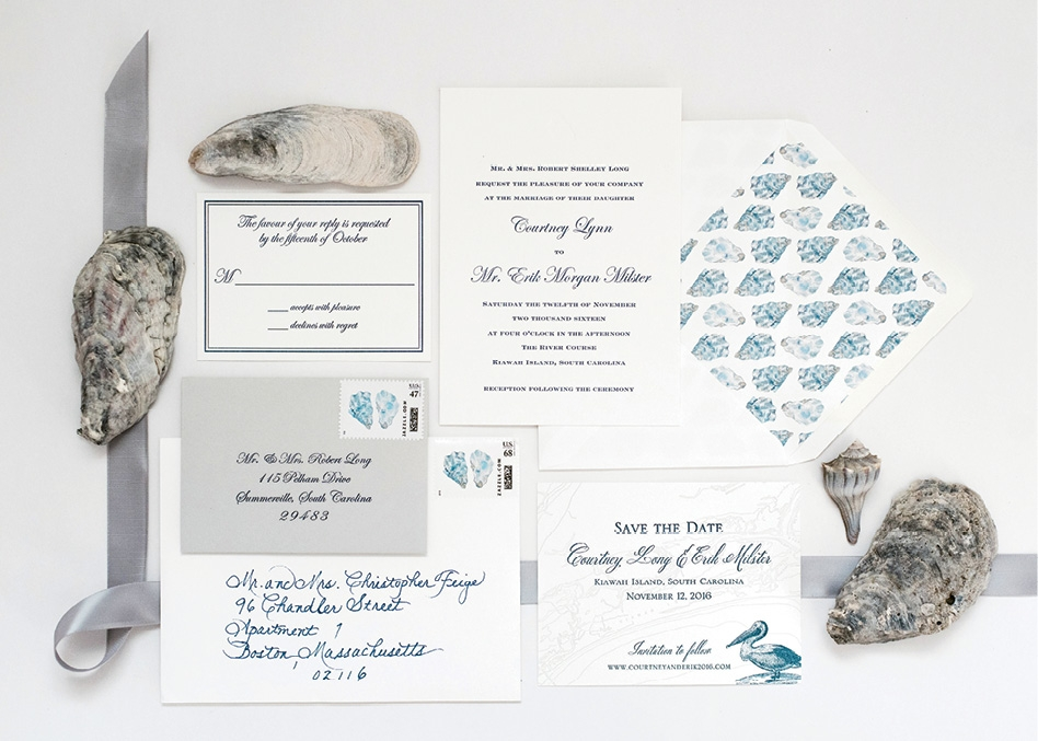 Albertine designed the invitation suite and used watercolorist Kearsley Lloyd's custom-created oysters for the envelope liners. Courtney's mother calligraphed the guest addresses.   <i>Photograph by Marni Rothschild Pictures</i>