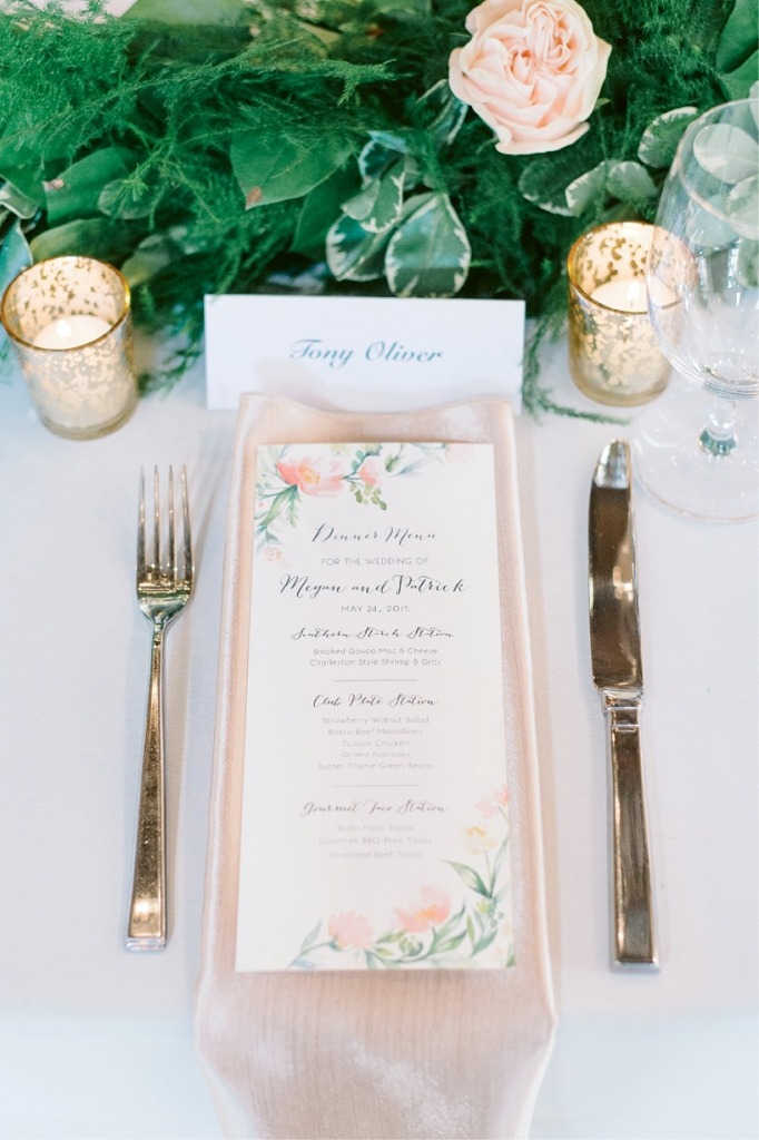 Network! The groom's brother's girlfriend illustrated menus, programs, and more that riffed off invitations ordered online. Image by Aaron & Jillian Photography.