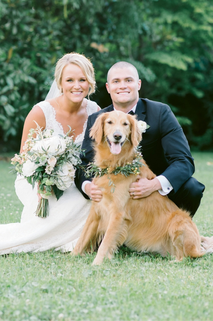 Image by Aaron & Jillian Photography at Magnolia Plantation & Gardens. Bride's attire by Mikaella. Hair by Paper Dolls. Groom's attire by Men's Wearhouse. Bouquet and dog collar by Wildflowers Inc.