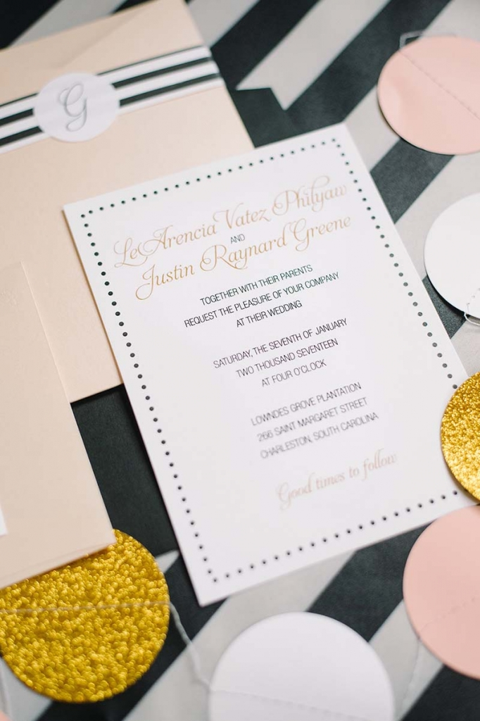 """I sometimes struggled with the bows, polka dots, and stripes­,"" she says. ""I wanted all of them but not in any way resembling a birthday party."" The invitations gave Nisha a clear idea of what should carry into the reception.   <i>Image by Aaron & Jillian Photography</i>"