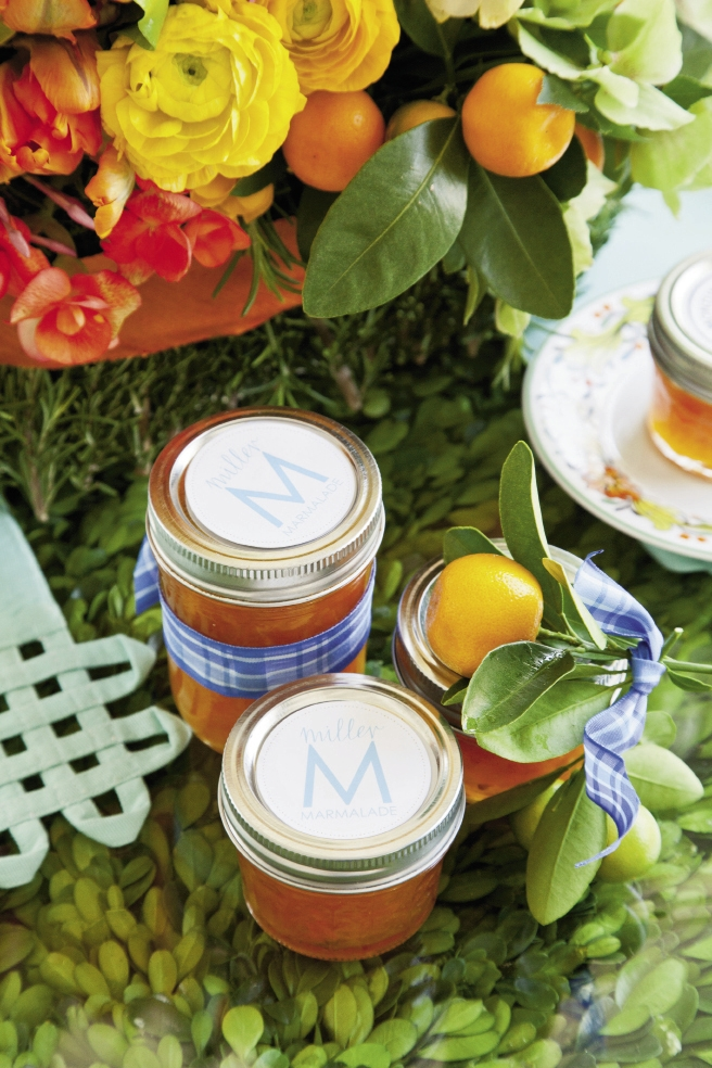 SWEET IDEA: Calamondin marmalade favors were accented with the couple's initial,