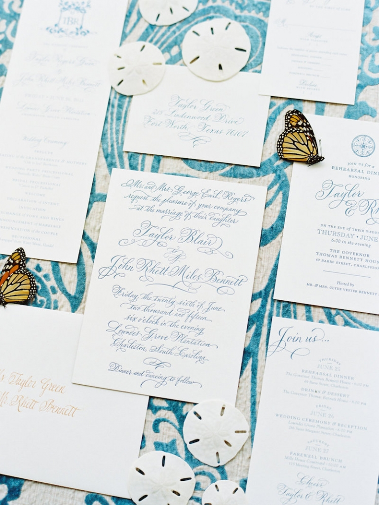 Stationery suite by Studio R. Calligraphy by Elizabeth Porcher Jones. Image by Ryan Ray Photography.