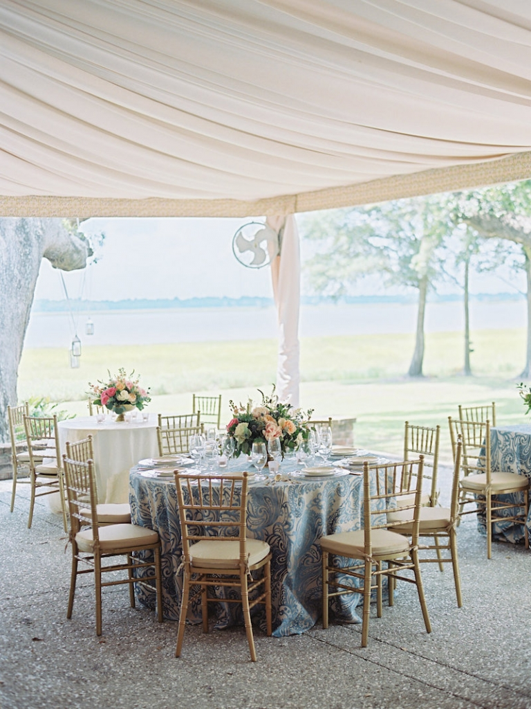 Wedding design by A Charleston Bride. Rentals from Snyder Event Rentals. Linens by Nuage Linens. Tabletop by Polished!  Image by Ryan Ray Photography at Lowndes Grove Plantation.