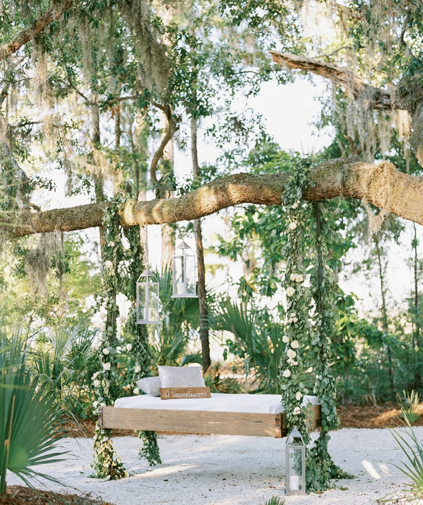 """Special touches like this swing gave the entire venue a magical ambiance,"" says Maddy. ""When it came to life, my mother-in-law's vision was more amazing than I could have ever imagined."""