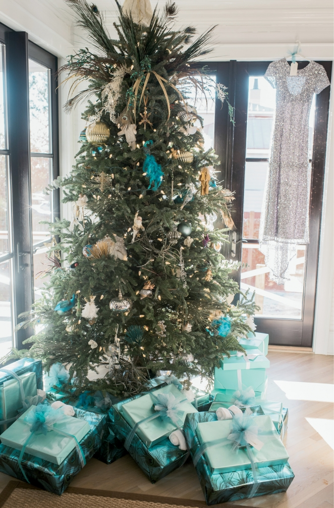 The bride's mother decorated the family's Sullivan Island home in Grayson's wedding colors. Bridesmaids' gifts were tucked under the tree.