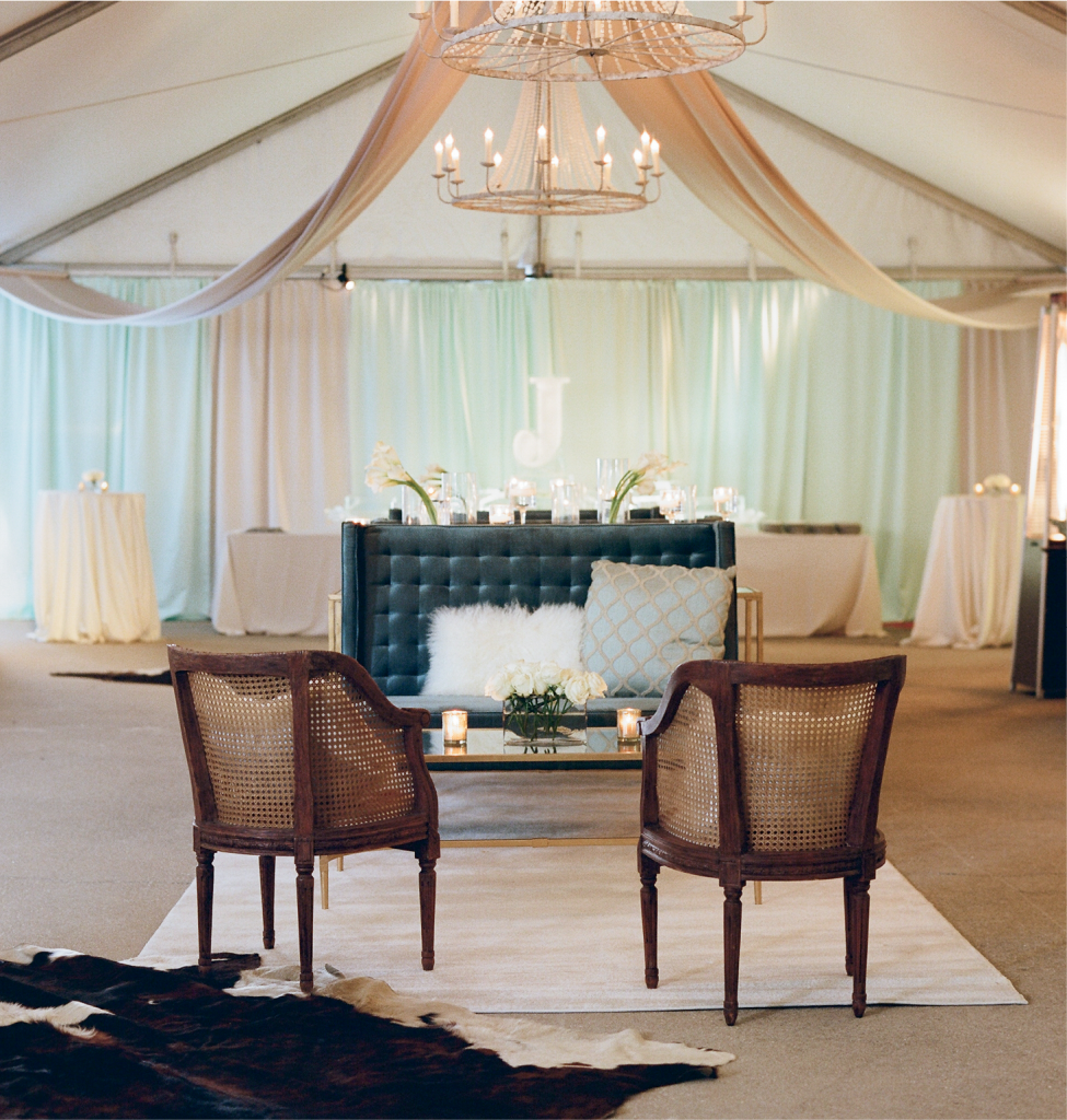 In order to keep the 350 guests mingling (rather than massing), tents like this one were erected on the club grounds. Inside, cocktail bars, buffets, and lounges made each a popular spot to frequent.