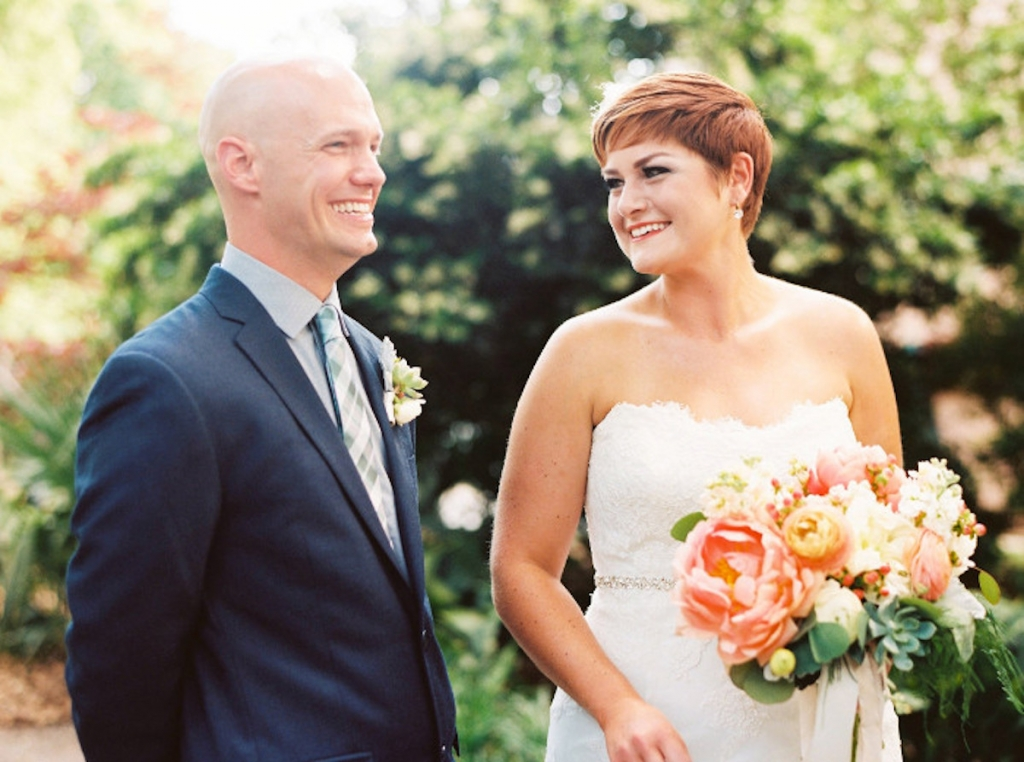 Image by Perry Vaile Photography. Bride's attire by Sottero and Midgley. Bouquet by Rebecca Rose Events. Groom's attire by Alfani (suit); Calvin Klein (shirt & tie).
