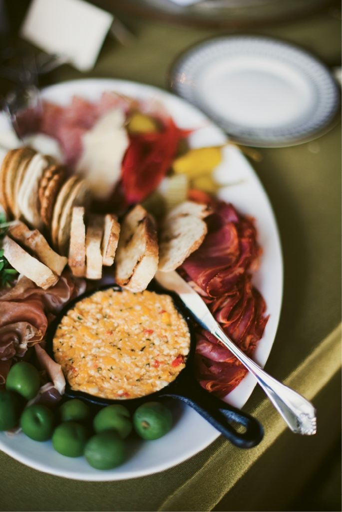 """We wanted a menu that was a little different,"" says the bride. ""Cru Catering was excited to work with us on it not at all scared of tackling such a food fest."" Case in point: this antipasto plate.  (Image by Juliet Elizabeth Photography)"