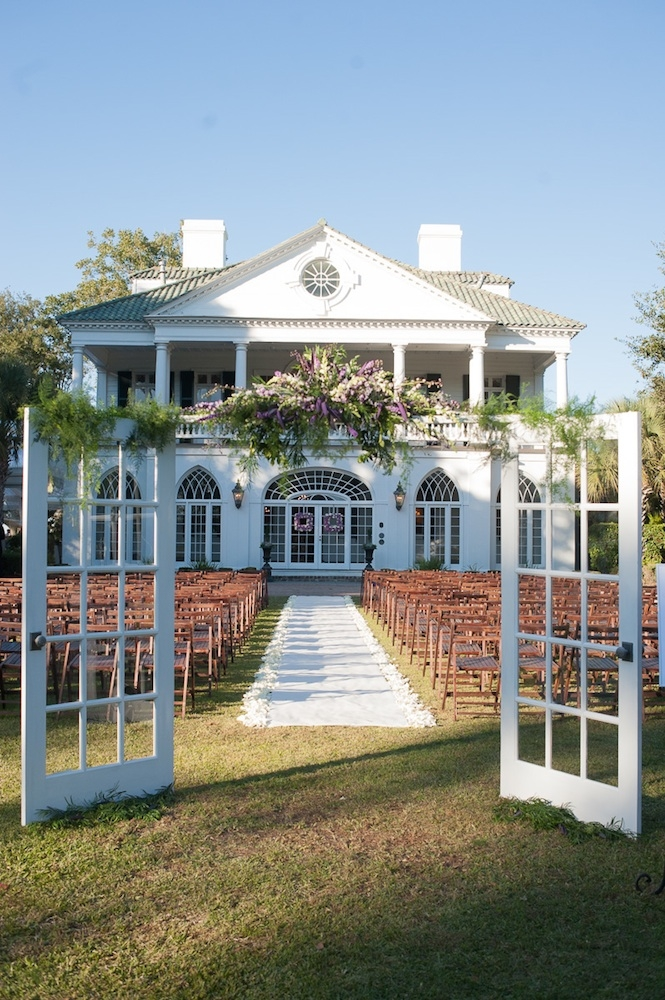 Wedding design by YOJ Events. Florals by WildFlower Inc. Image by Leigh Webber Photography at Lowndes Grove Plantation.