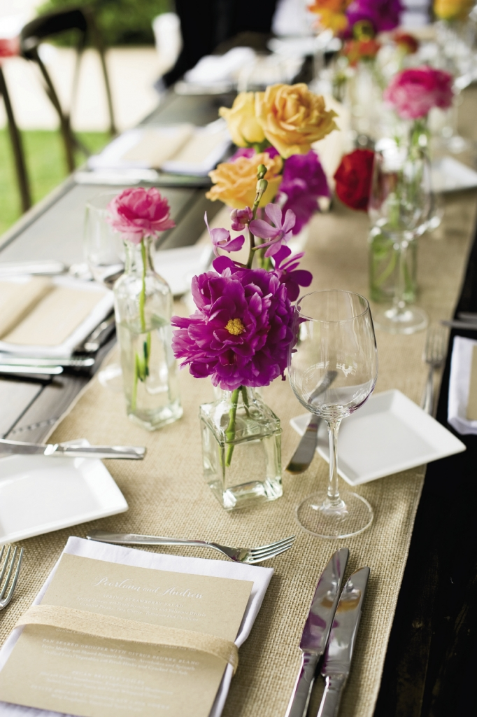 AWE-INSPIRED: Tablescapes mimicked the colorful floral spread that inspired the day's aesthetic.