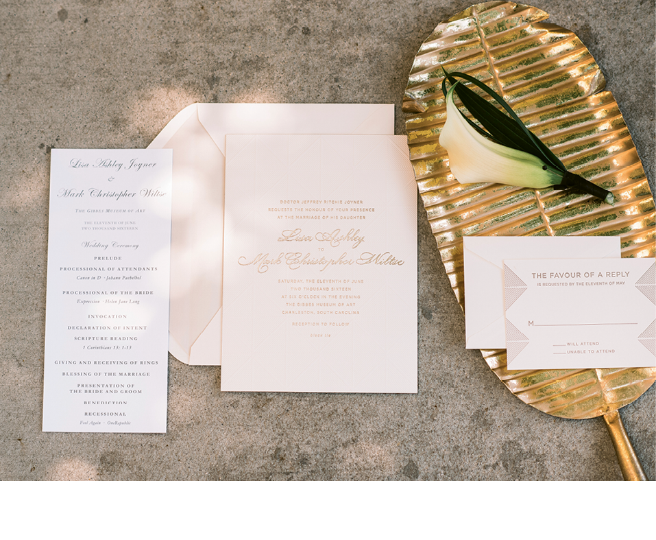 Bella Figura created a decidedly pared-back stationery suite with just a hint of Beaux Arts flair (a nod to the location's architecture) engraved in gold on the reply card.  <i>Image Timwill Photography</i>