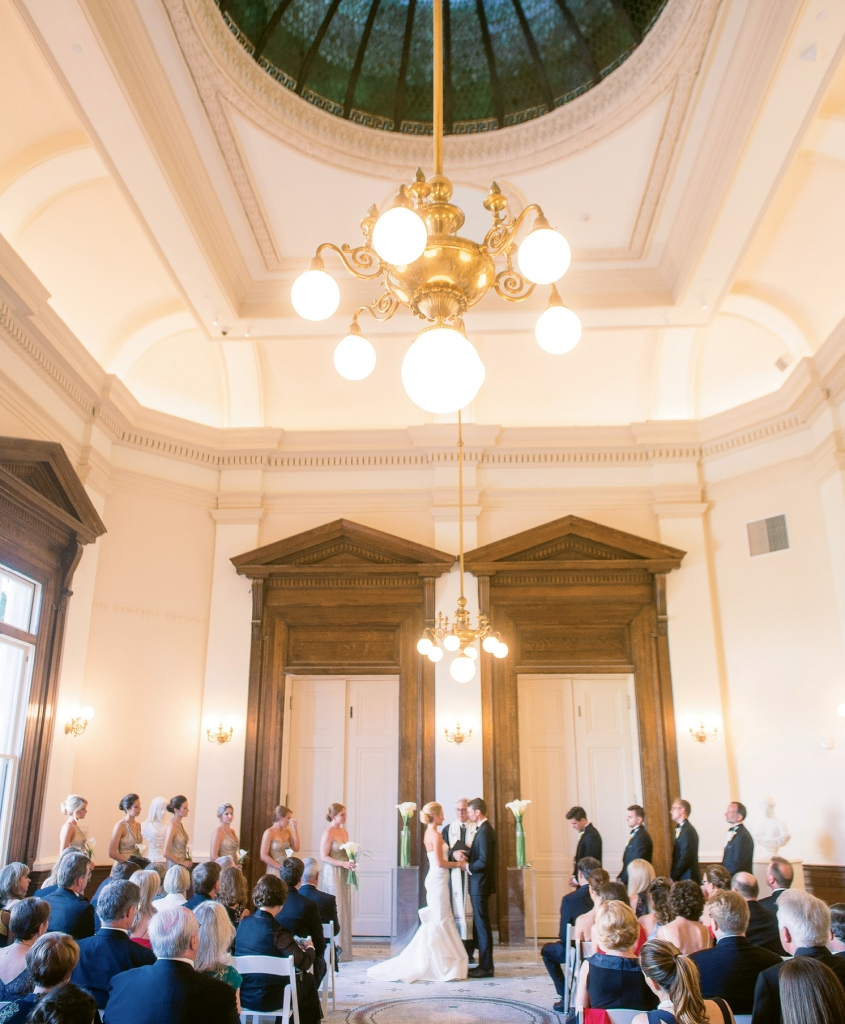 The grand architecture of the Gibbes' rotunda meant little decoration was needed for the ceremony.  <i>Image Timwill Photography</i>
