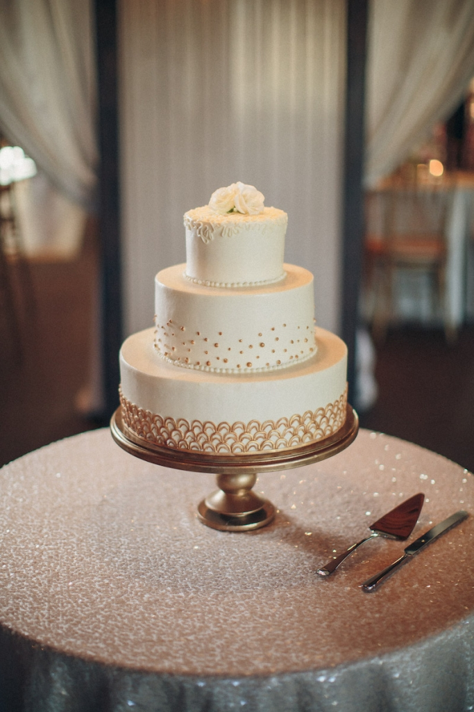 Cake by Elaine's Events. Image by Richard Bell Weddings at Magnolia Plantation & Gardens.