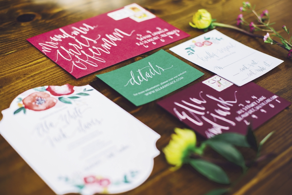 Stationery by The Silver Starfish. Watercolors by Britt Bates. Calligraphy by HR Deneau Paper Co. Event design by Pure Luxe Bride. Image by Monika Gauthier Photography & Design.