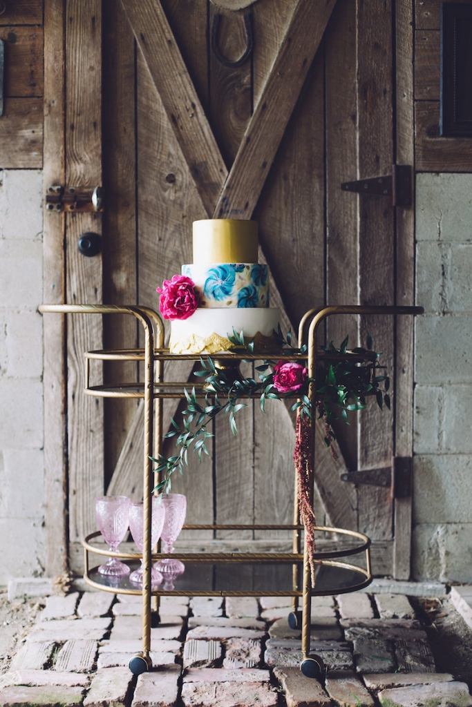 Cake by DeClare. Bar cart from 428 Main Vintage Rentals. Event design by Pure Luxe Bride. Florals by Anna Bella Florals. Image by Monika Gauthier Photography & Design at The Stables at Boals Farm.
