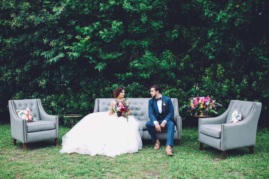 Bridal attire by Lazaro from Gown Boutique of Charleston. Menswear from David's Tuxedos.  Florals by Anna Bella Florals. Rentals by EventWorks and Innovative Event Services. Event design by Pure Luxe Bride. Image by Monika Gauthier Photography & Design.