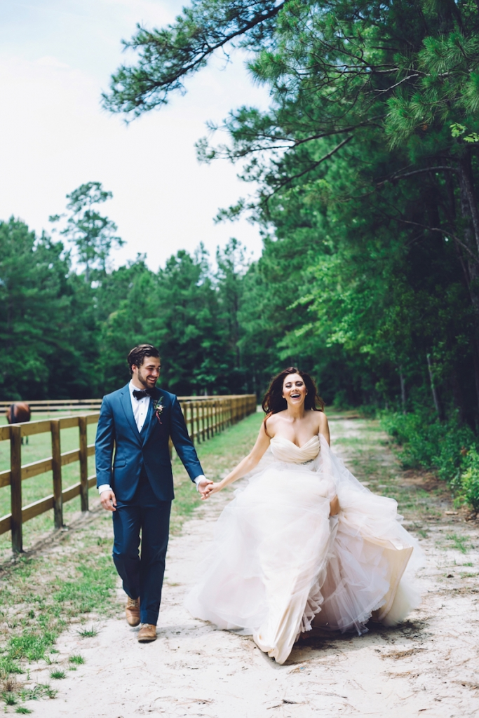 Menswear from David's Tuxedos. Bridal attire by Lazaro from Gown Boutique of Charleston. Image by Monika Gauthier Photography & Design at The Stables at Boals Farm.