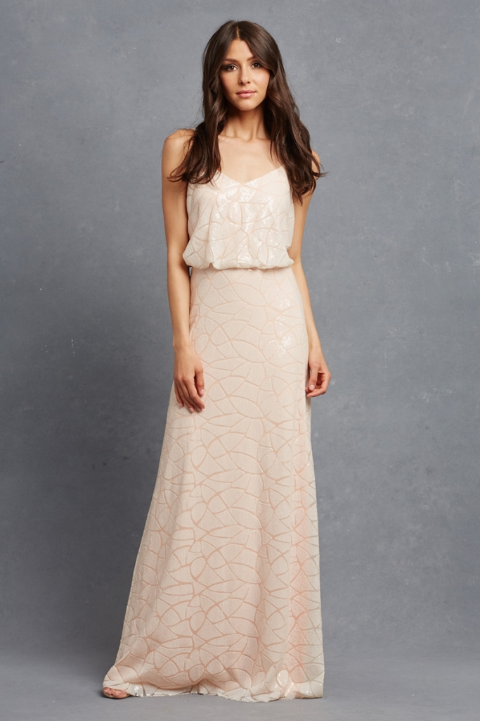 """GLAM: Donna Morgan's """"Olivia,"""" available through Bella  Bridesmaids and Gown and  Boutique of Charleston"""