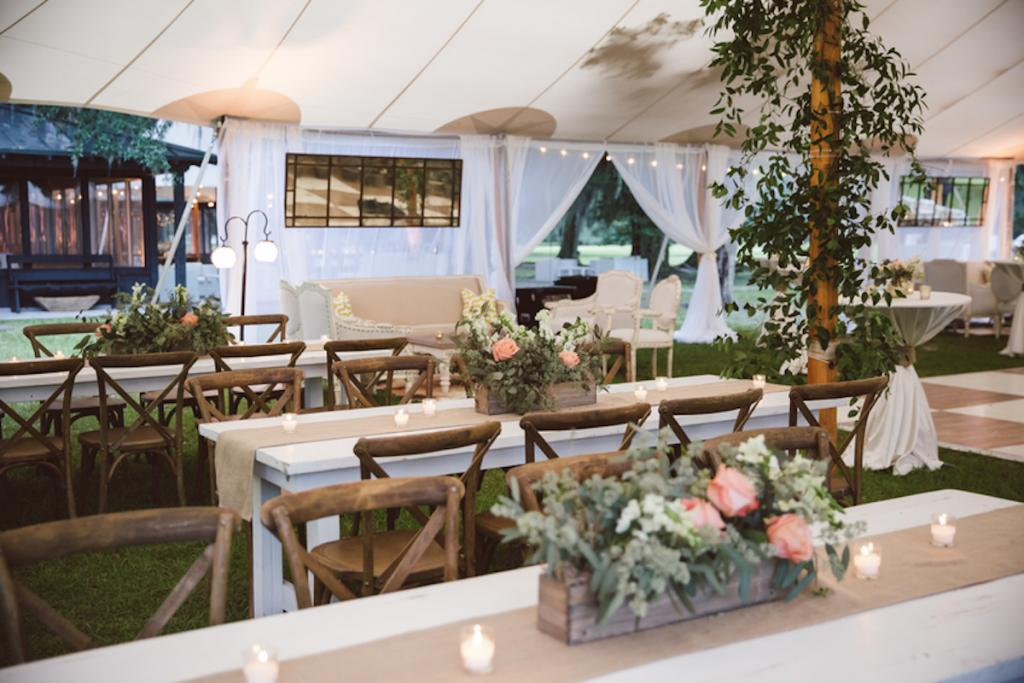 Tables from EventHaus. Chairs from Snyder Events. Florals and wedding design by Fox Events. Tent and dance floor by Sperry Tents Southeast. Greens by Nancy's Exotic Plants. Image by amelia + dan photography.