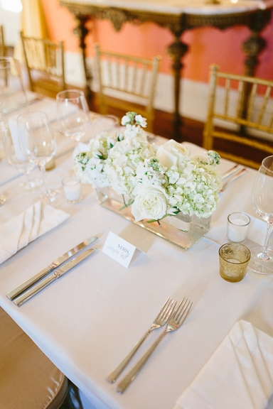 Wedding design by A. Caldwell Events. Florals by Tiger Lily Weddings. Rentals by Snyder Events and EventWorks. Linens by La Tavola. Image by Clay Austin Photography  at the William Aiken House.