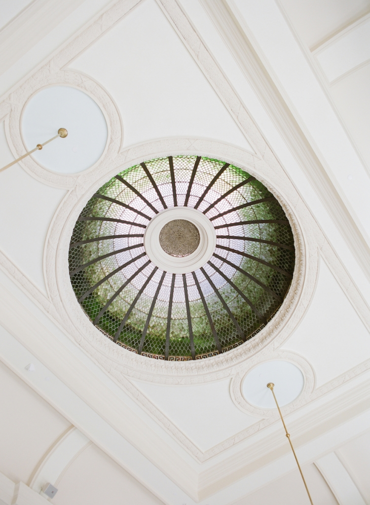 One of the most popular places to wed at the newly renovated Gibbes Museum of Art is the Campbell Rotunda Gallery, which is topped by this stained glass beauty. Part of the venue's recent $13.5 million facelift included hand-washing each of the 4,680 glass panels. (Photo by Corbin Gurkin)