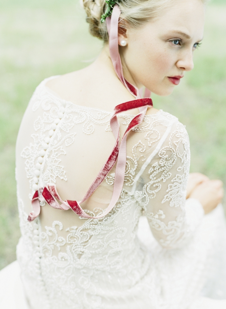 Justin Alexander's  9786 beaded tulle gown from Bridal House of Charleston. Velvet ribbon from  Out of Hand. Stylist's own earrings. Photograph by Corbin Gurkin.