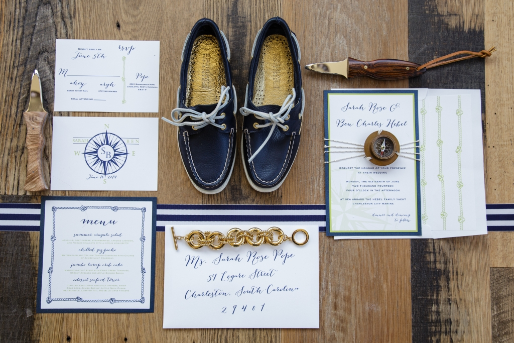 COORDINATED COORDINATES: The Silver Starfish's stationery suite echoed iconic maritime graphics. Coastal Knives made a fitting groom's gift suggestion.