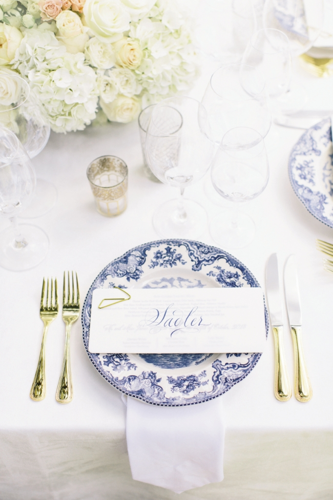 Classic china from Tara Guérard Soirée bore place cards penned by calligrapher Elizabeth Porcher Jones.