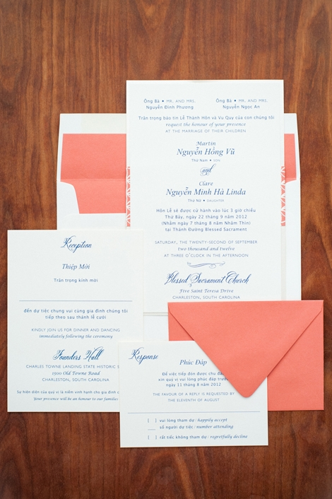 SNEAK PEEK: Guests were introduced to the bride's picks for the color palette—coral and navy—via the invitation stationery suite by Studio R.