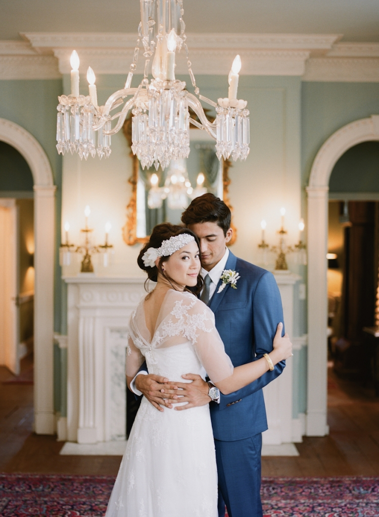 Photograph by Hyer Images. Bride's attire by Marchesa (gown); Vera Wang (bolero,veil); Doloris Petunia (hair accessory).