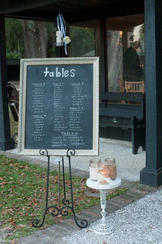 LEND A HAND: D'Anne's bridesmaids helped out by penning table assignments onto framed chalkboards.