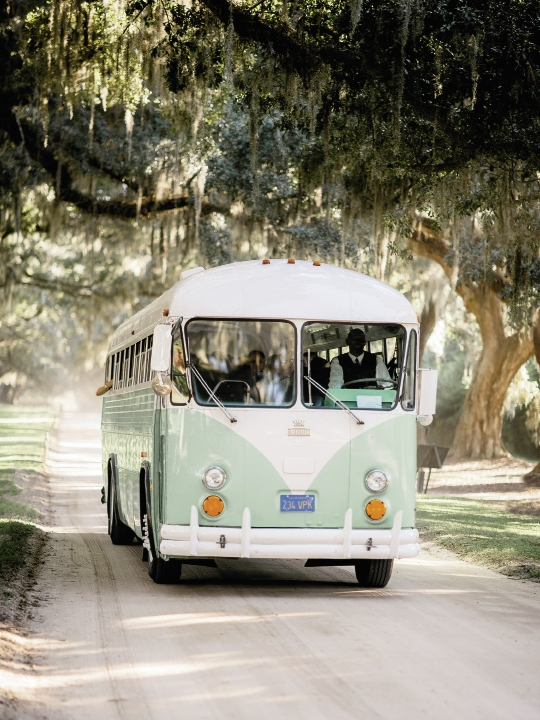 Transportation by Lowcountry Valet & Shuttle Co. Image by Brandon Lata Photography at Boone Hall Plantation and Cotton Dock.