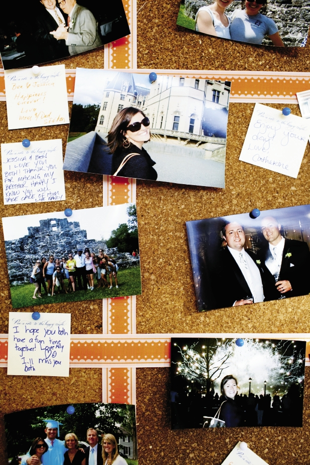 THROUGH THE AGES: In lieu of a guest book, guests pinned memories of when they met the bride or groom near photos on a corkboard.