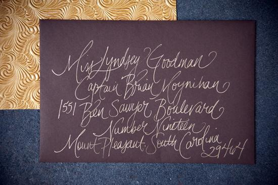 "PEN NAMED: Kristin Newman addressed the couple's invitations in a casual calligraphy Lyndsey describes as ""unique and beautiful."" The chocolate brown, gold, and cream colored suite gave guests a peek at the wedding's palette."