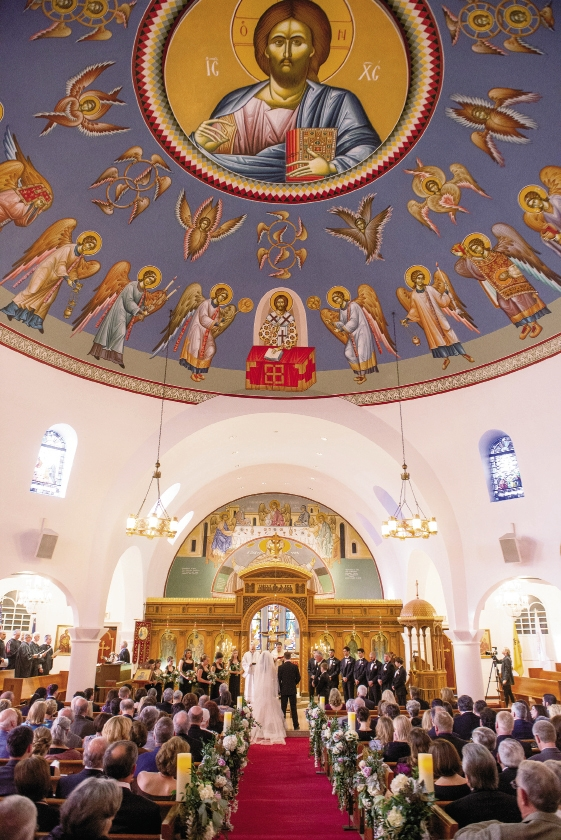 Charleston's Holy Trinity Greek Orthodox Church, where the couple wed, was built in 1958, but its Byzantine style has roots that reach back to late 400 A.D.  Image by Timwill Photography at the Greek Orthodox Church of the Holy Trinity.