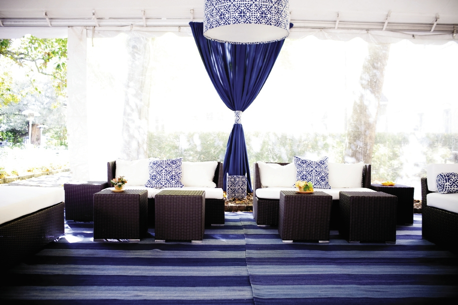 TAKE A BREATHER: Two tents from Snyder Event Rentals and Staffing, one located on either side of the dance floor, housed comfy lounges where guests could relax.