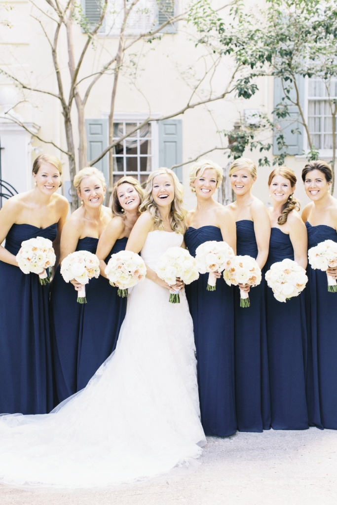 Kelly's bridesmaids' gowns were by Monique Lhuillier (available in Charleston through Bella Bridesmaids).