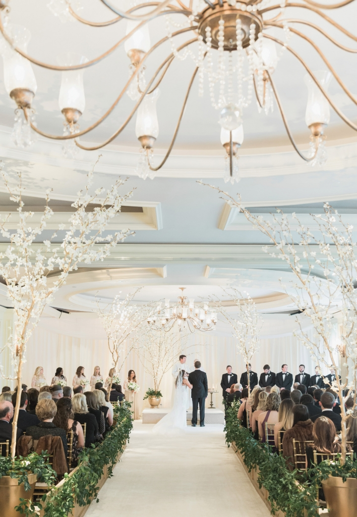 """""""It was so peaceful,"""" Gaby says of the ceremony's ambiance. Orchid """"trees"""".   <i>Photograph by Corbin Gurkin</i>"""